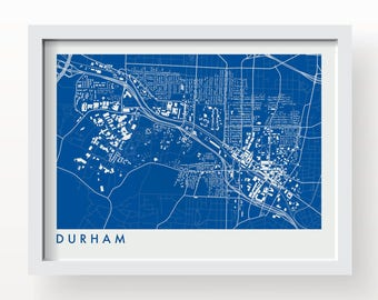 DURHAM Map Print - graphic drawing art poster Duke University Blue Devils