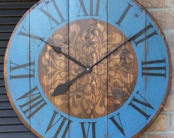 "Decorative Wall Clocks, Large Wall Clock, Unique Wall Clock, Mom gift, Rustic Wall Clock, Husband gift, Wedding gift, 27"" clock"
