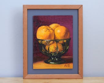 Framed Kitchen Painting, Oranges in a green glass bowl, daily painting by Aleksey Vaynshteyn