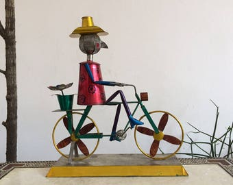 Metal cyclist, mexican toy, home decor