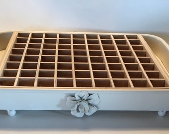 Essential Oil Tray with birds /antique white metal tray/ flower/ distressed/ box/storage/dividers holds 72++ (15ml) bottles