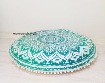Meditation Cushion Poufs Floor Cushion Seating Floor Pillow Meditation Pillowcase Mandala Round Cushion FILLER NOT INCLUDED