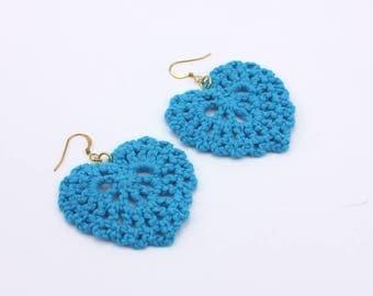 Blue Crochet Heart Earrings, Handmade Jewelry by Detail London.