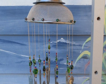 Vintage Shabby Chic Kitchenware Silverware & Glass Bead Wind Chime GREENS