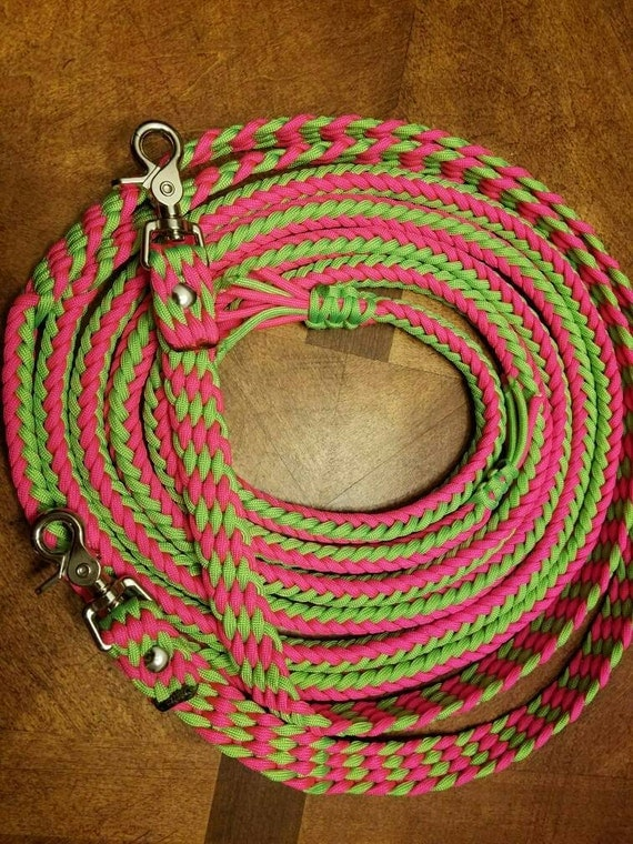 Horse Tack: Adjustable 7' Paracord Split Reins, 8 strand round braid 550 paracord with trigger snaps