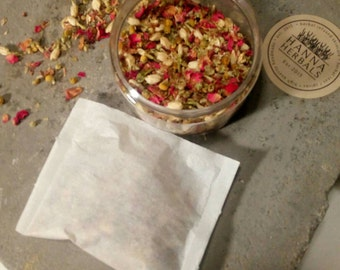 Rose, Chamomile and Jasmine Bath Herbs - Set of 4 large bags - Bath Tea - Floral Bath Herbs - Floral Bath Tea - Organic Skincare