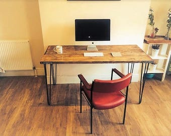 Scaffolding desk with steel hairpin legs