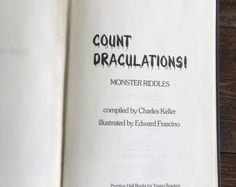 Count Draculations! 1986 Monster Riddle book / Children's Joke hardcover