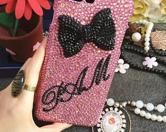 Capital Letter Name Bling Pink Personalized Diy Words Luxury Lovely Bow Fashion Sparkles Crystals Rhinestones Diamonds Case for Mobile Phone