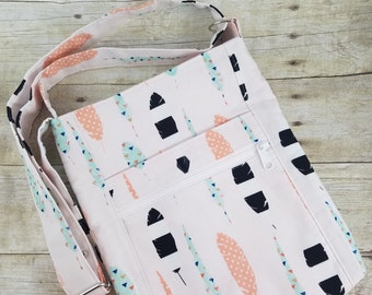 Light Pink Feather Print Hipster, Cross Body Purse, Cross Body Bag, Cross Body Hobo Bag, Crossbody Purse, Crossbody Bag, Small Messenger Bag