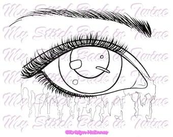 Digital stamp colouring image - EYE'S Watercolour tears + Bonus. jpeg / png