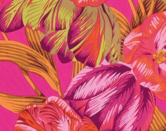 Kaffe Fassett Fabric  New  Tulip Extravaganza - PINK Phillip Jacobs Quilting, Spring 2017 Collection.