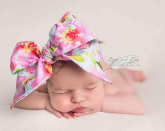 WATERCOLOR FLORAL Gorgeous Wrap- headwrap; fabric head wrap; floral head wrap; boho; newborn headband; baby headband; toddler headband