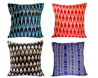 Handwoven Ikat throw pillow/ Indian woven Ikat cushion cover/ Boho cushion cover