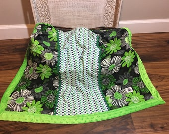 Minky baby blanket with contrasting cotton blend.  Green, blues, white and black
