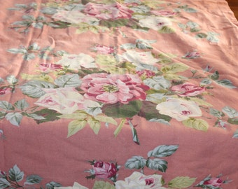 Beautiful Vinatge Cabbage Rose Bark Cloth Panel