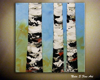 Birch Tree Painting by Nata S. Abstract Textured Artwork  on Canvas, Palette Knife, Colorful Birch Tree Painting, Home & Office Wall Decor