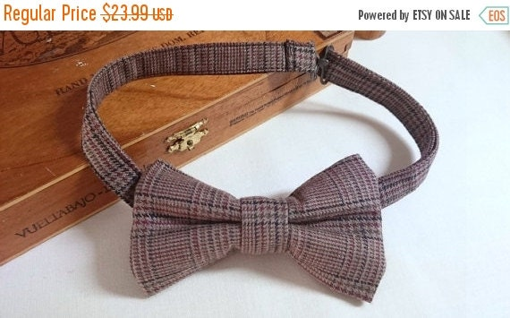Winter Sale Adult's Plaid Pretied Bow Tie Brown Tweed