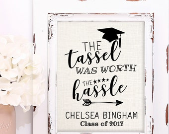 Graduation Gift, College Graduation Gift, High School Graduation Gift, Personalized Burlap Print