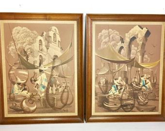 Mid Century Modern James Bunnell Framed Artwork (Pair)