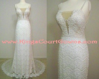 Replica Pearl Beaded Open Back Plunging Neckline Beautiful Stretch Lace Trumpet Wedding Pageant Dress Gown