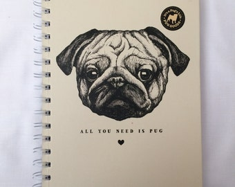 A6 Pug wire bound note book