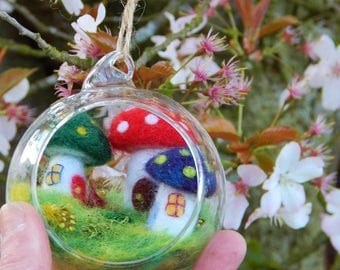 Fairy House Village miniature - Handmade fairy village in glass bauble - needle felted - toadstools
