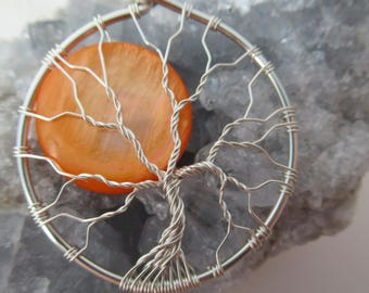 Full Moon Tree of Life Pendant~ Harvest Moon~ Halloween Tree