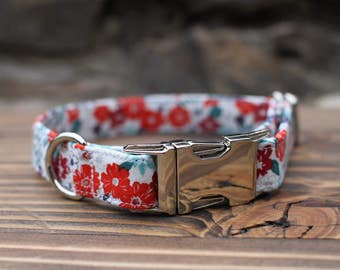 Flower Dog Collar | Female Dog Collar | Metal Buckle | Pet Collar | Small Dog Collar | Large Dog Collar | Gift for Dog Lovers