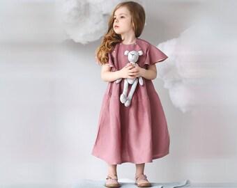 Toddler flutter sleeve dress-Organic linen dress-Girls summer dress-girls birthday dress-Vintage girls dress-Pink linen girls dress