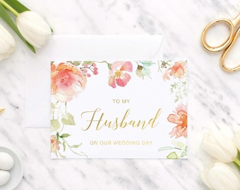To my husband on our wedding day   To my husband   To my groom   Wedding day card   Wedding card   Card for groom   Foil card   Wedding gift