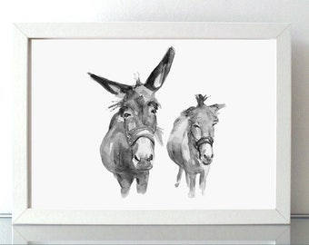 two Donkeys Art - Donkey painting - print - Animal Painting - donkey watercolor -  donkey illustration - donkey print -wall art donkeys