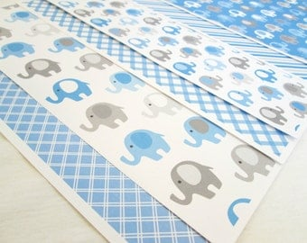 Scrapbook Paper CLEARANCE Baby Elephants Scrapbook Paper Baby Shower Card Stock Card Making Supplies Baby Boy Blue Elephants Crafting Paper