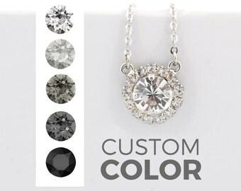 Bridesmaid pendant necklace - bridal necklace - Swarovski crystal