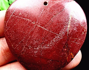 100 % Natural Picasso Jasper Gemstone Pendant Red color heart shape 48x49x6  mm. MMA