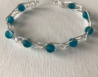 Turquoise Sea Glass And Crystal Silver Woven Wire Cuff Bracelet