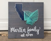 Custom made two state string art sign with handpainted family name