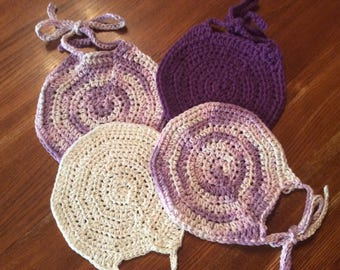 Set of 4 Cotton Crocheted Baby Bibs