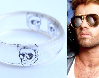 George Michael Transparent Resin Ring, Clear ring, Translucent ring, Pop music Jewelry, Handmade  Ring, Gothic Ring, Black clear ring, Wham