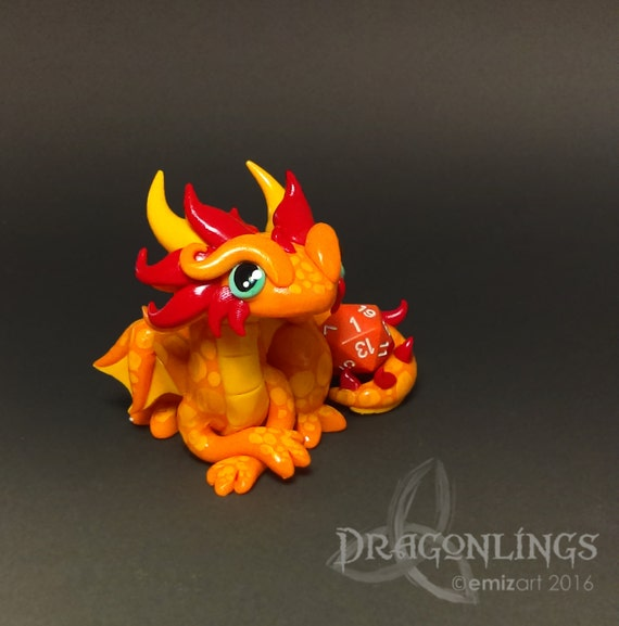 Polymer Clay Dragon Dice Holder- Orange, Yellow-Orange, and Red-Orange Dragonling: Mandar