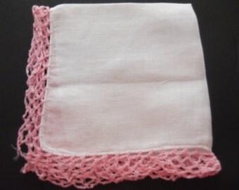 Heirloom Quality Vintage Hand Crocheted Ladies Pink Trim Hankie Estate Sale Find Shabby Chic Handmade