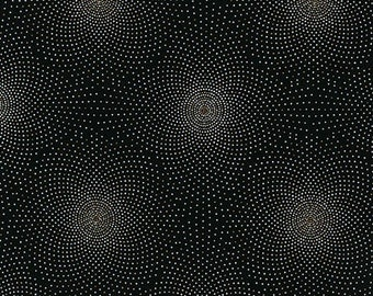 Robert Kaufman - Grand Majolica - SRKM-15835-2 Black - Dots - Black - Metallic Highlights - Delicate - Pindots - One More Yard
