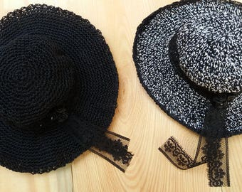 Black or black & white melange HAT for BJD
