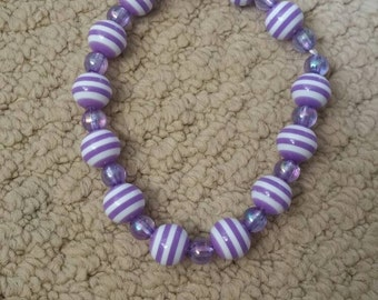 Elastic beaded bracelet, purple bracelet, white bracelet, purple beads, white beads