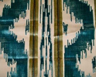BRUNSCHWIG & FILS CHINOISERIE Zhen Cut Velvet Fabric 5 Yards Turq Teal Tan