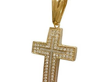 """Iced Out Stainless Steel Cross Pendant Necklace with 24"""" Chain"""