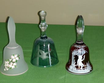 "Three 5"" Hand Painted Glass Ringing Bells"