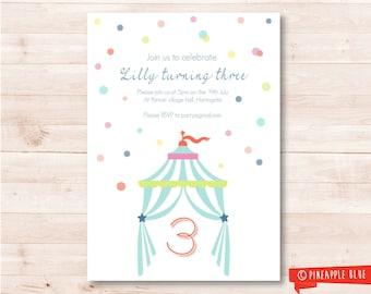 Printable party invitation | Kids invitation | Birthday invitation | Circus party invitation | Spotted kids invitation | Baby invitation