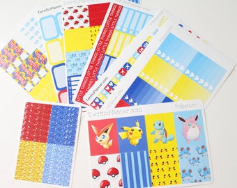Pokemon Weekly Planner Sticker Kit and Washi Removable Matte  or Glossy Stickers