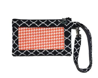 ID Badge Wallet, Black Phone Wallet, Orange Houndstooth, iPhone 6 Wristlet, Smart Phone Purse, Womens Wallet, Cell Phone Bag, Text and Tote®